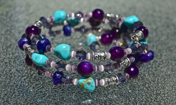 Amethyst and Turquoise Wrapped Bracelet