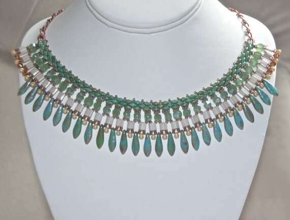 """19"""" Green Turquoise Dagger Necklace"""