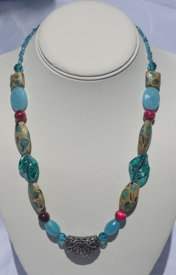 """19"""" Teal and Sliver Necklace"""