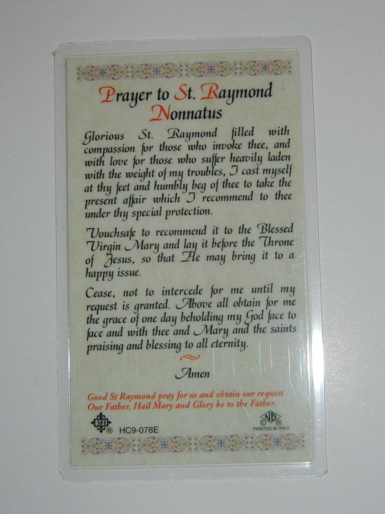 Saint Raymond (San Ramon) Prayer Card - English Only - Printed in Italy
