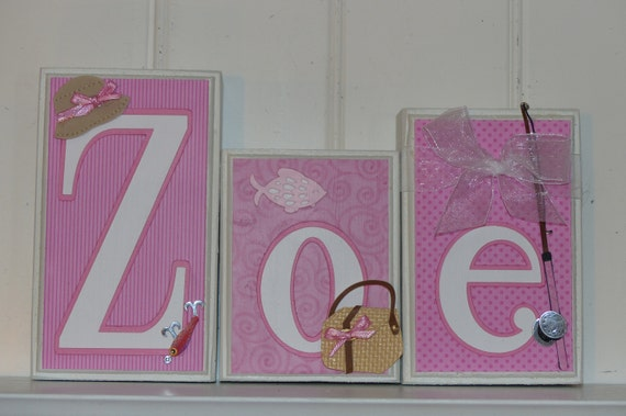 Pink Nursery Decor Girl Fishing Baby Name Block Letters Home Etsy