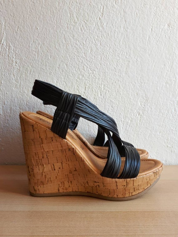 Black Nappa Leather Wedges