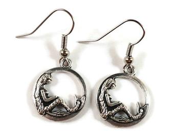 Silver Mermaid Earrings, Mermaid Charm Earrings, Hoop Earrings, Beach Jewelry, Sea Jewelry, Nautical Earrings, Teen Jewelry, Gift for Her