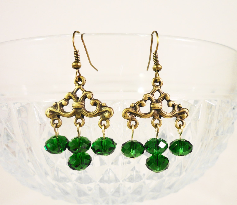 Green Chandelier Earrings Emerald Green Crystal Earrings ...