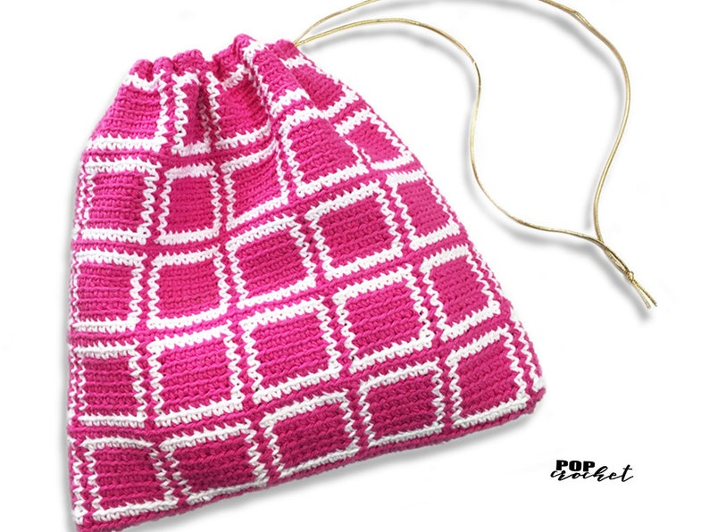 Block Square Crochet Tapestry Pattern Crochet Pouch Crochet image 0