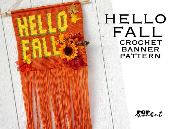 Hello Fall Crochet Wall Hanging Banner Pattern Wall Hanging Etsy