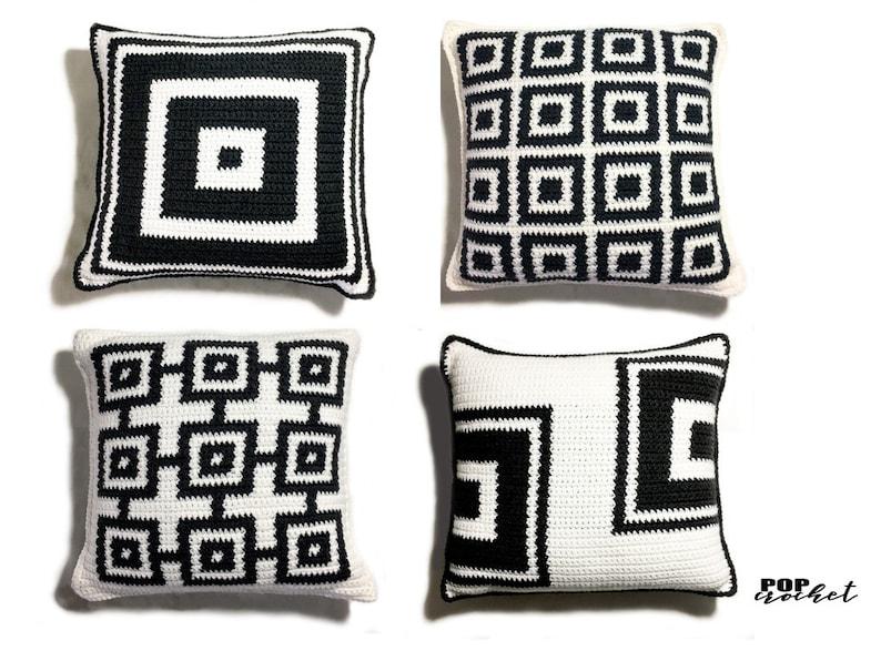 Square Crochet Pillow Pattern Set bundle pattern instant pdf image 1