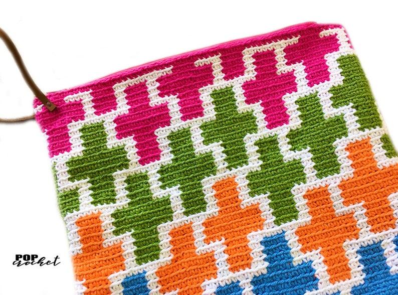 Positive Sign Tapestry Crochet Pattern Crochet Pouch Crochet image 1