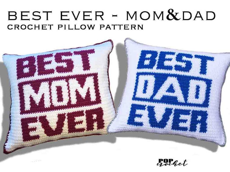Best Ever Mom & Dad Crochet Pillow Pattern image 0