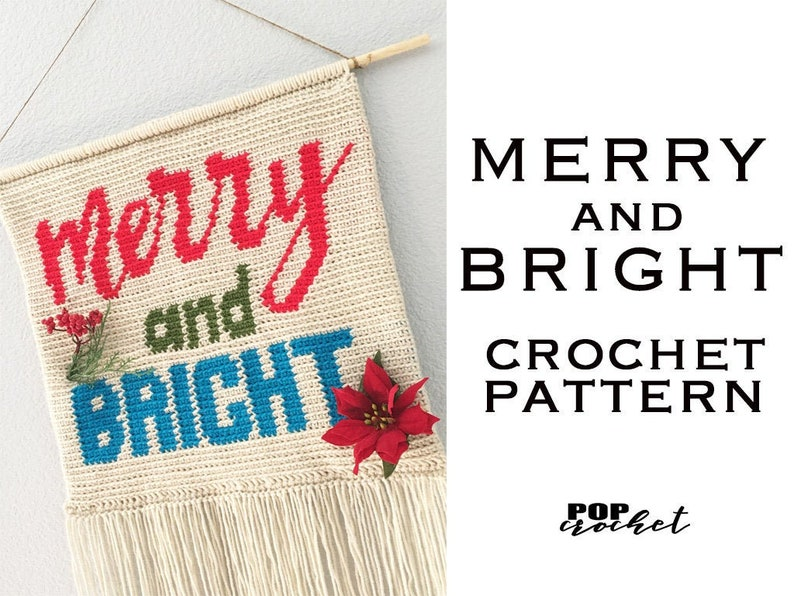 Merry and Bright Crochet Pattern Crochet Christmas Pillow image 0