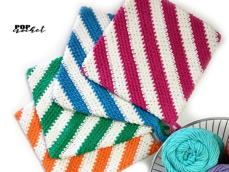 Stripes Potholder Crochet Pattern Hot Pad Crochet Pattern image 0