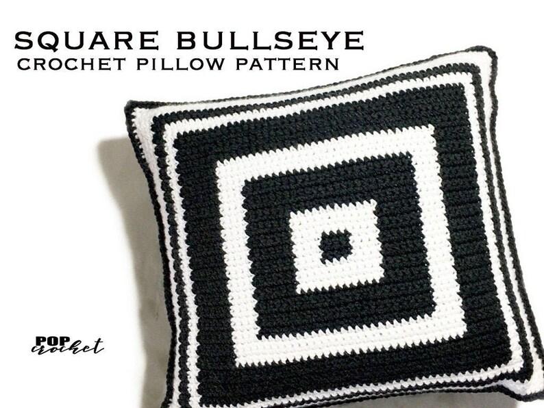 Square Bullseye Crochet Pillow Pattern image 0