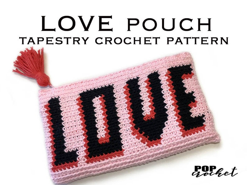 LOVE Pouch  Tapestry Crochet Pattern Purse Tapestry Pattern image 0