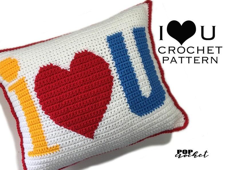 I Heart U Crochet Pillow Pattern image 0