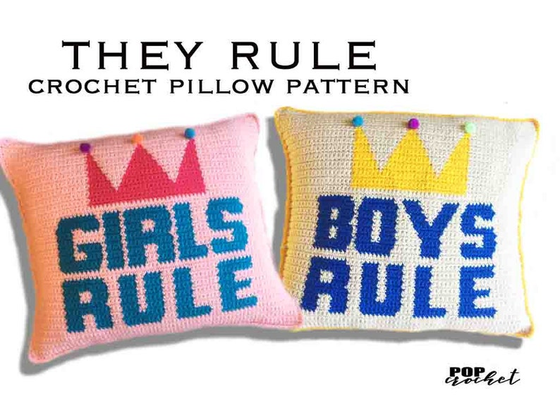 They Rule Crochet Pattern crochet pillow pattern crochet image 0