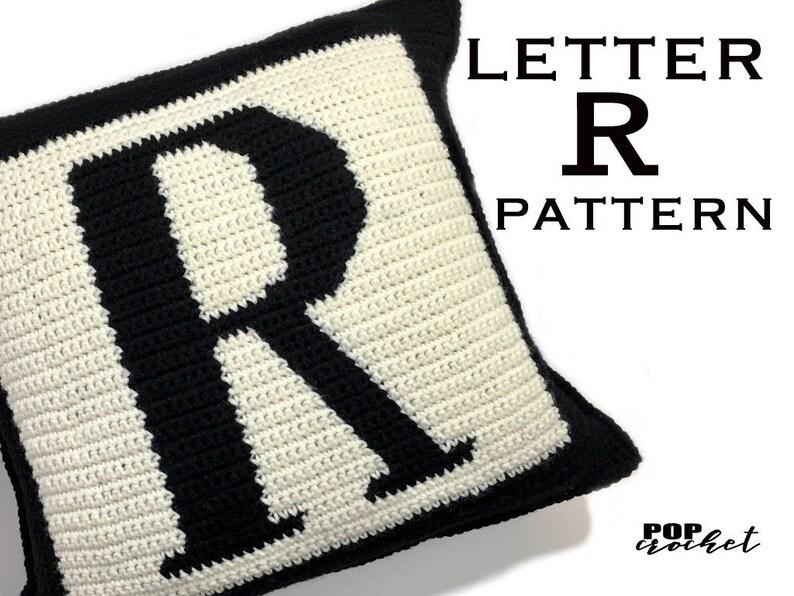 Crochet Pattern  Letter R Crochet Pillow image 0