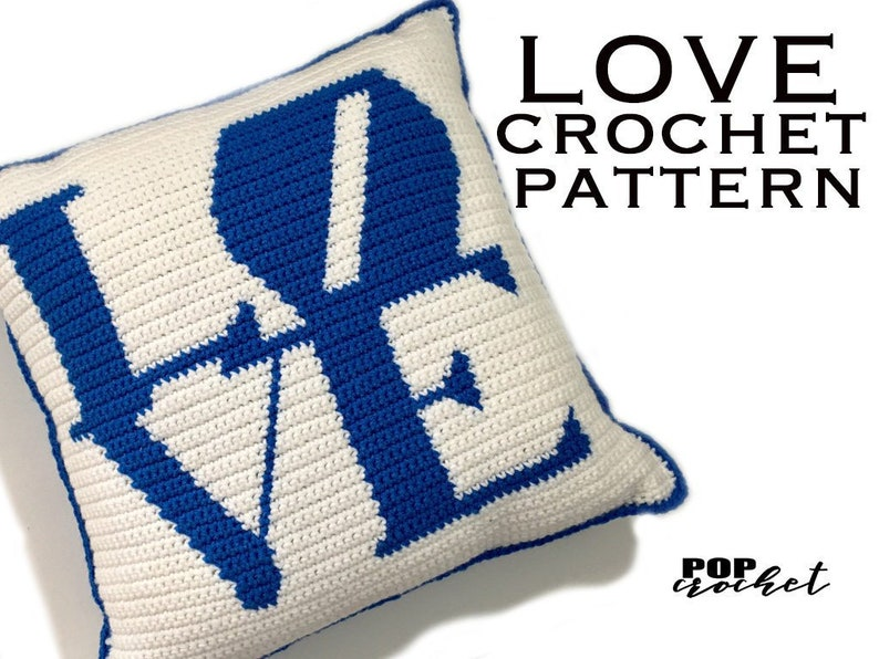Crochet Pattern  LOVE Pillow image 0