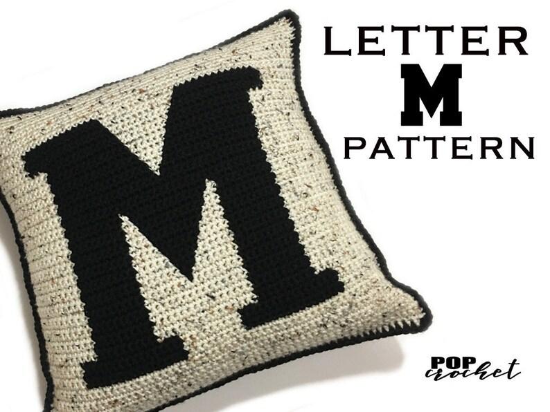 Crochet Pattern  Letter Bold M Crochet Pillow image 0