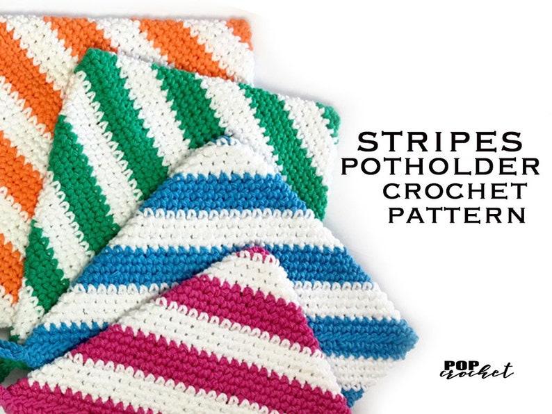 Stripes Potholder Crochet Pattern image 0
