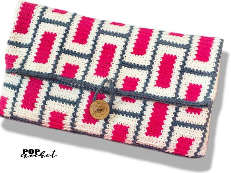 Square Eyes Tapestry Crochet Pattern Cross Body Crochet Bag image 0