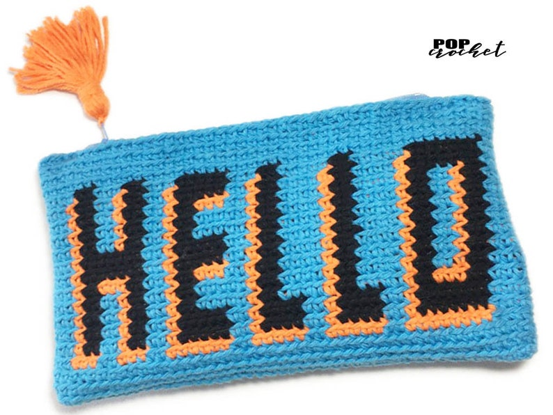 HELLO Pouch Tapestry Crochet Pattern Purse Tapestry Pattern image 0