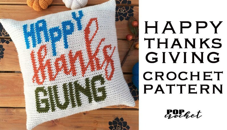 Happy Thanks Giving Crochet Pattern Crochet Pillow Crochet image 0