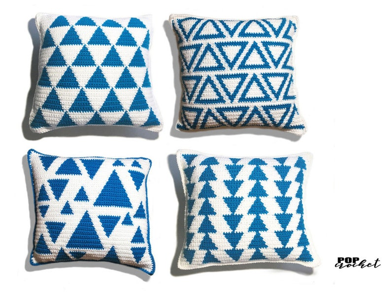 Triangle Bundle Crochet Pillow Pattern Set / bundle pattern / image 0