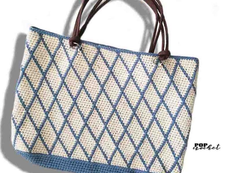 Criss Cross Tote Bag Crochet Pattern  crochet beginners  image 0