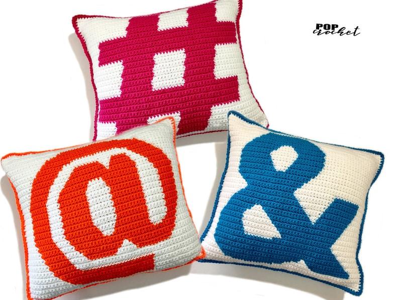 Symbol Trio Crochet Pillow Pattern Set Social Media Icon image 1