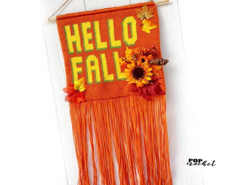 HELLO FALL Crochet Wall Hanging Banner Pattern Wall Hanging image 0