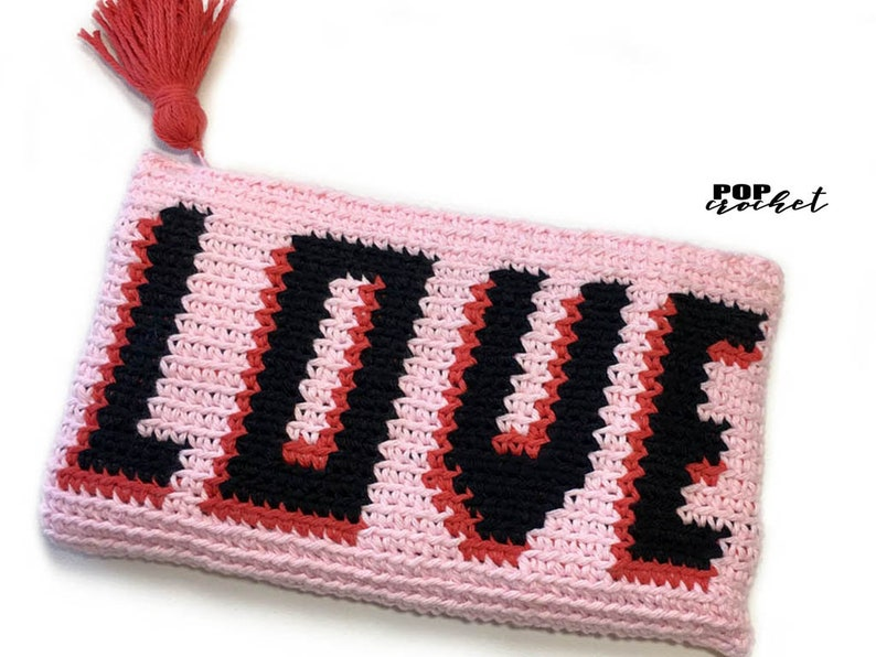 LOVE Pouch Tapestry Crochet Pattern Purse Tapestry Pattern image 0
