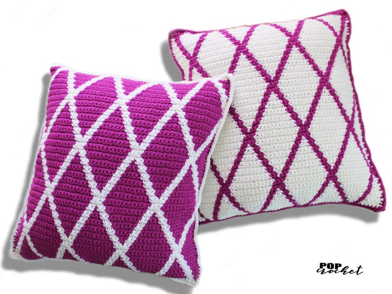 Diamond Criss Cross Crochet Pillow Pattern image 1