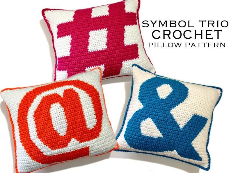 Symbol Trio Crochet Pillow Pattern image 0