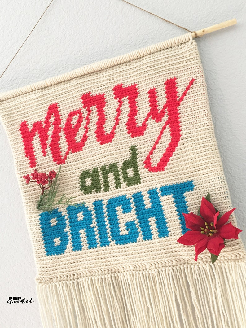 Crochet Christmas Pillow Wall Hanging Banner Holiday Decor Merry and Bright Crochet Pattern