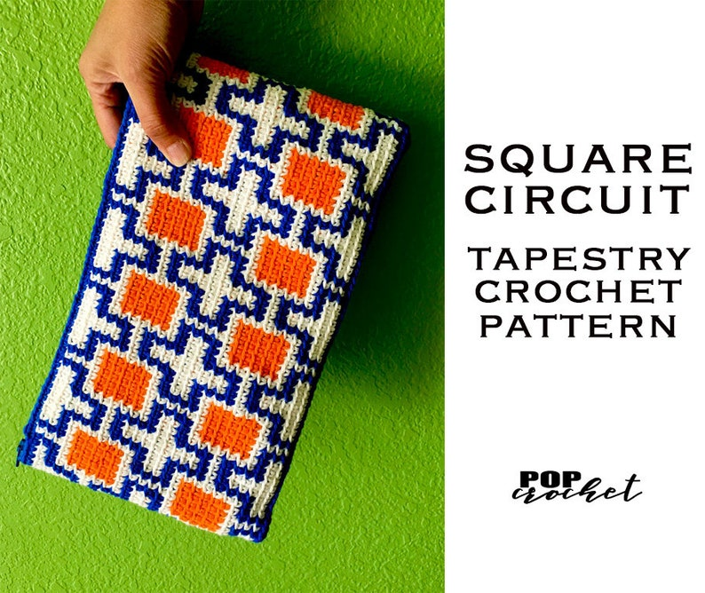 Square Circuit Tapestry Crochet Pattern crochet pouch image 0