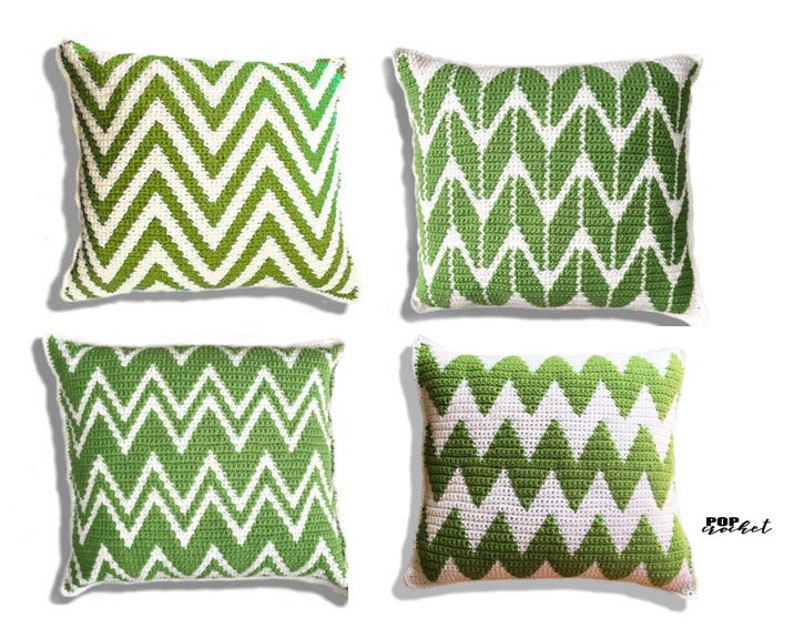 Chevron Bundle Crochet Pillow Pattern Set / Zig Zag Pattern / image 1