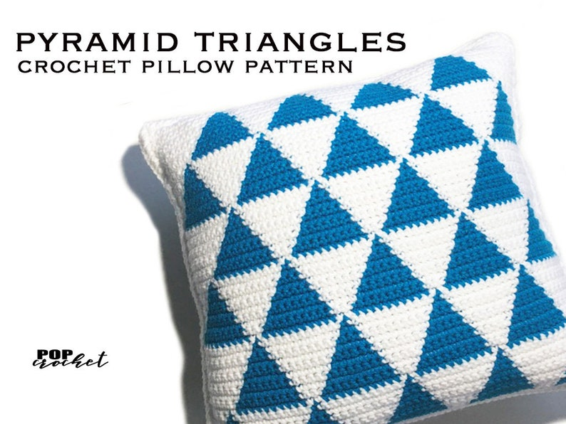 Pyramid Triangles Crochet Pillow Pattern image 0