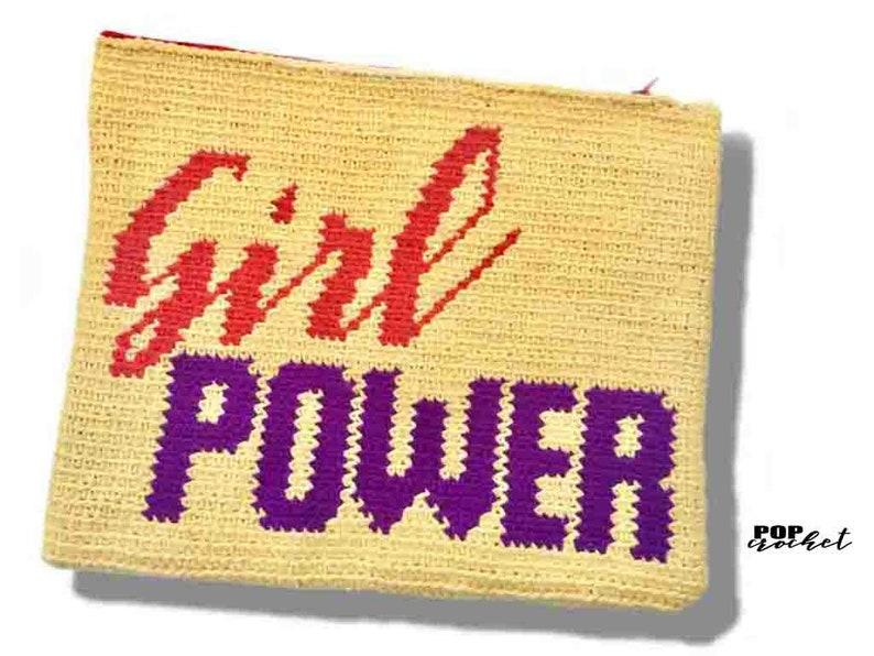 Girl Power Crochet Tapestry Pattern crochet pouch crochet image 0