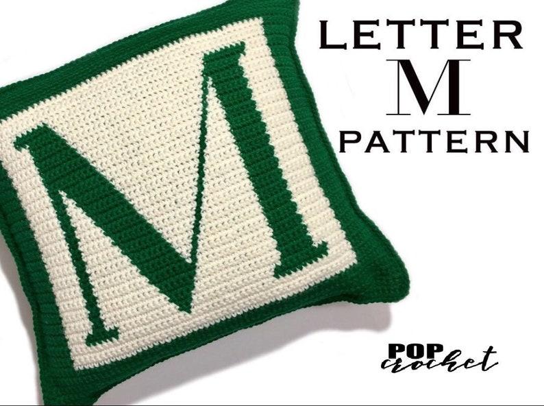 Crochet Pattern  Letter M Crochet Pillow image 0