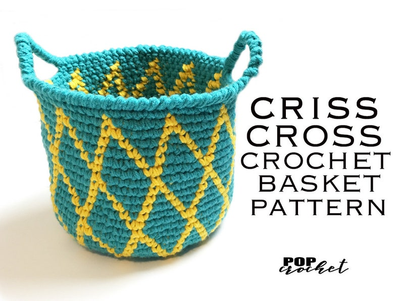 Criss Cross Crochet Basket Pattern image 0