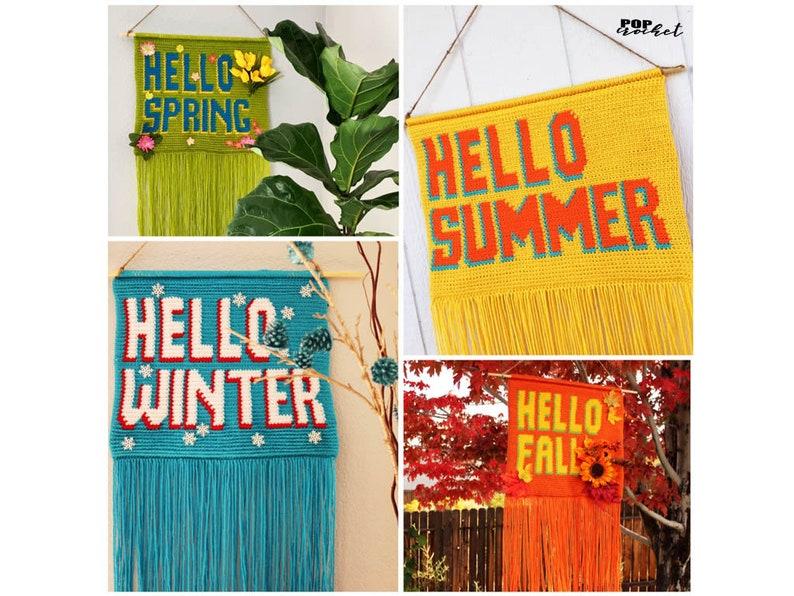 HELLO Four Seasons Crochet Wall Hanging Banner Pattern Bundle image 1