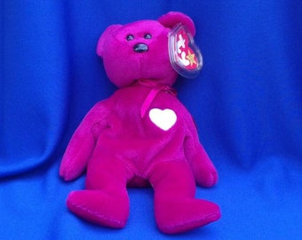 584976db8e1 VALENTINA BEAR Ty Original Beanie Baby plush toy Fuchsia white rare retired  collectible Like new never displayed