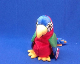 1cb03b72466 JABBER PARROT ~ Ty Original Beanie Baby Babies ~ plush bird ~ bright colors  ~ red white green black blue yellow ~ rare retired collectible