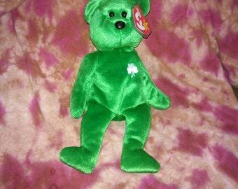 57cece71fd0 ERIN BEAR St. Patrick s Day Ty Original Beanie Baby plush toy green black  White shamrock like new rare retired collectible plush bear