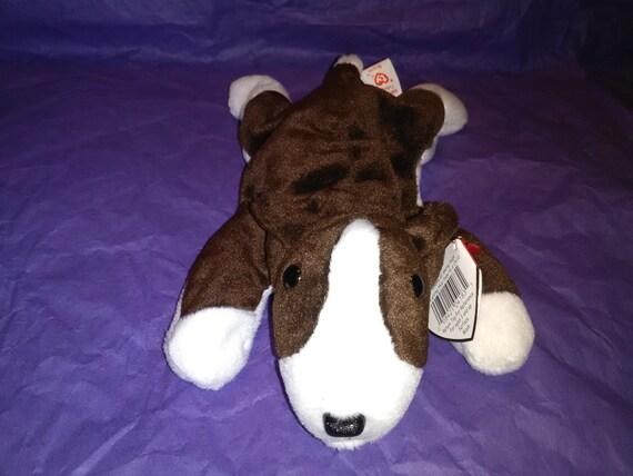 BRUNO DOG Ty Original Beanie Baby dark brown white rare  c8a2f197495