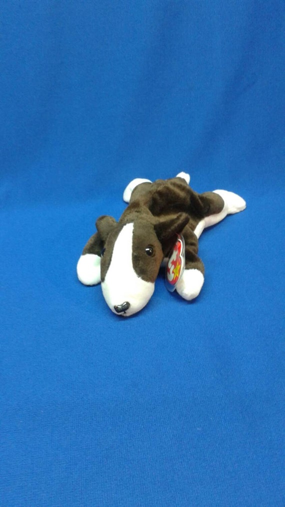 BRUNO DOG Ty Original Beanie Baby dark brown white fur rare retired  collectible Like new never displayed pe pellets Great gift idea 4a49d4d8343