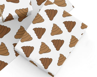 Recyclable Rude Gift Wrap Wrapping Paper Emoji Poop Birthday Poo Sht