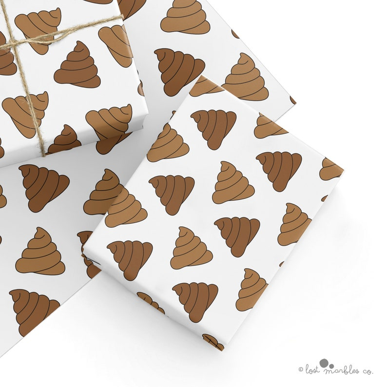 Recyclable Rude Gift Wrap Wrapping Paper Emoji Poop
