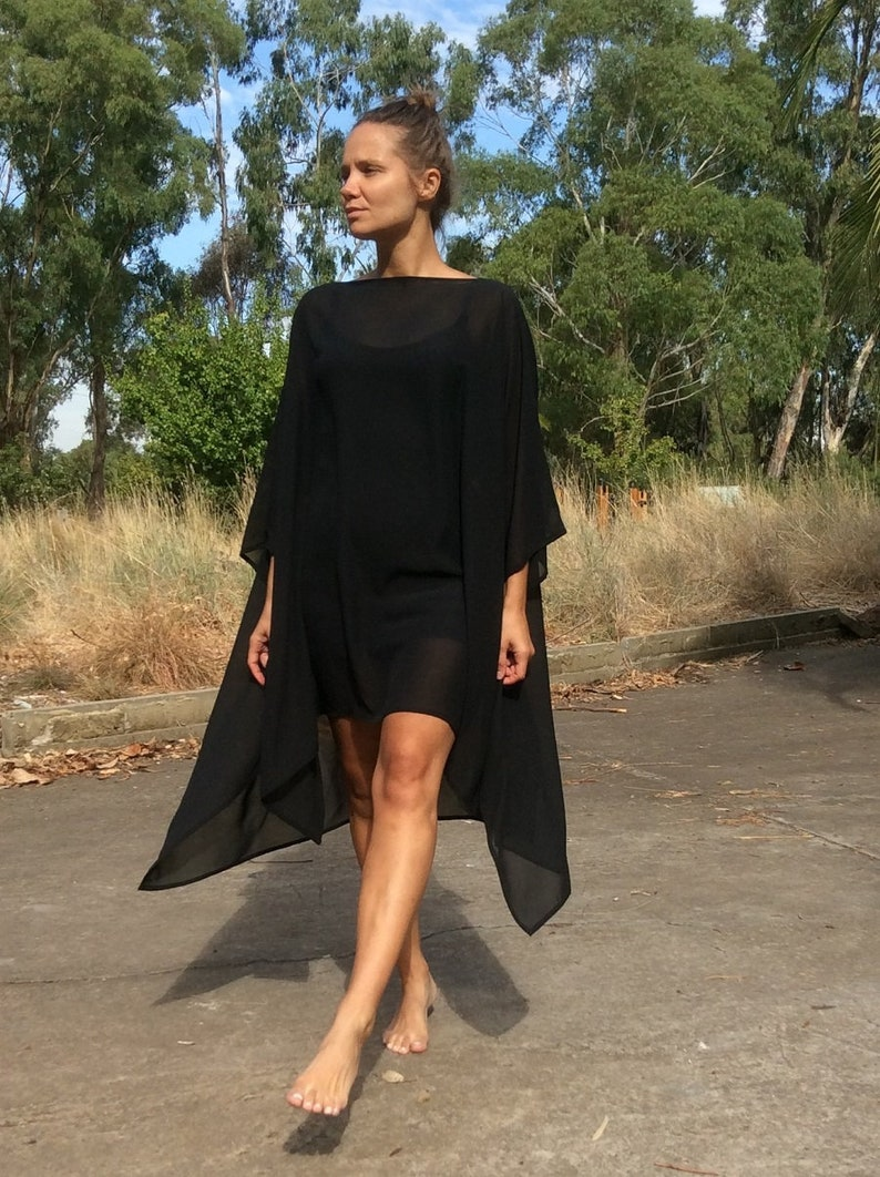 Bohemian Oversize Asymmetrical Black TopTunicDress