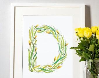 Leafy Letterform D - A Watercolour Alphabet Series
